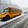 KRISTOPHER RADDER - BRATTLEBORO REFORMER<br /> A School bus was unable to make the way up a hill due to weather after stopping for an accident just ahead of on Route 5 in Putney. Police cleared the traffic and the bus was eventually able to move.