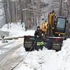 KRISTOPHER RADDER - BRATTLEBORO REFORMER<br /> A section of Route 9 in West Brattleboro was closed by the Chelsea Royal Diner. Crews expect the road to be closed for four to five hours as they repair power lines after A tractor trailer hit a utility pole, causing the wires to fall down on the road.