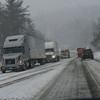 KRISTOPHER RADDER - BRATTLEBORO REFORMER<br /> Tractor-Trailers get stuck on Route 9, in Marlboro, Vt., as the snow makes it difficult for drivers to navigate on Friday, March 2, 2018.