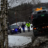 KRISTOPHER RADDER - BRATTLEBORO REFORMER<br /> Crews from Spofford Fire Department respond to a single-motor-vehicle collision on Route 9 around 3 p.m. on Friday, March 2, 2018. The westbound lane was closed while crews clean up the scene. Chesterfield Police Department was looking into the incident.
