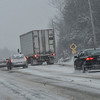 KRISTOPHER RADDER - BRATTLEBORO REFORMER<br /> A tractor trailer traveling westbound on Route 9 in Chesterfield, N.H. slid off the road blocking both eastbound lanes on Stoddard Hill during Winter Storm Stella on Tuesday, March 14, 2017. Police moved all traffic on the the westbound lane as they work to remove the vehicle.