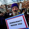 KRISTOPHER RADDER - BRATTLEBORO REFORMER<br /> Woody Bernhard, of Marlboro, Vt., attends the gathering of the solidarity for the Women's March in Pliny Park on Saturday, Jan. 20, 2018.