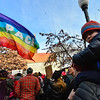 KRISTOPHER RADDER - BRATTLEBORO REFORMER<br /> Rowan McKenney, 3, sits on the shoulders of his mother Kate while watching the solidarity for the Women's March in Pliny Park on Saturday, Jan. 20, 2018.