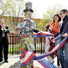 "TROY BID -- L-R Troy Mayor Lou Rosamilia, Ilene Frank director of the Rensselaer County Historical Society and artist  Judith Vincent with her ""Birds of Oakwood Cemetery"" Uncle Sam. The Downtown Troy Busines Improvement District and the City of Troy unveiled The Uncle Sam Project in Barker Park this morning. (Mike McMahon / The Record)"