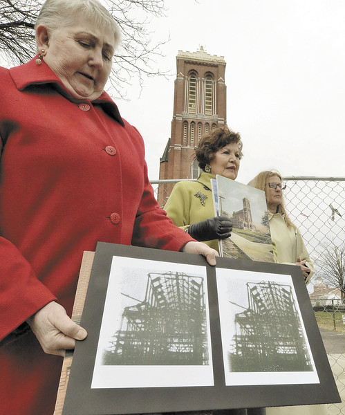 Citizens for St. Patricks Rosemary Nichols,  Eileen Anderson, Christine Bulmer reveal findings on how St. Patricks was constructed with a steel frame and is not in danger of collapse.  (Mike McMahon / The Record)