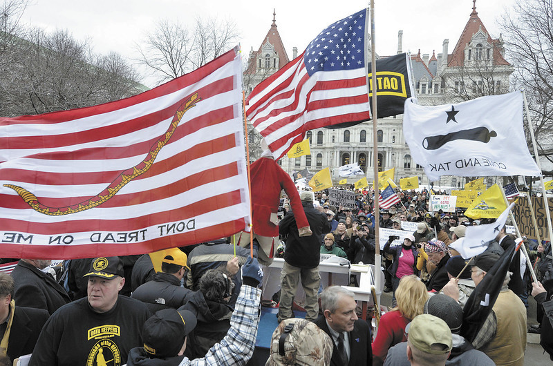 Gun rights raliy & lobby day in opposition to the safe act in the Capital Park in Albany. (Mike McMahon / The Record)