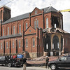 Crews continue the demolition of St. Patrick's Church in Watervliet.  (Mike McMahon / The Record)