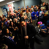 KRISTOPHER RADDER — BRATTLEBORO REFORMER<br /> Democratic presidential candidate businessman Andrew Yang shakes the hand of his supporters when entering his new campaign office in Keene, N.H., on Wednesday, Jan. 1, 2019.