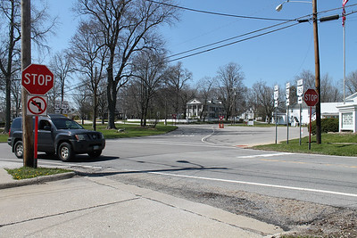 LAWRENCE PANTAGES / GAZETTE The traffic circle at state Route 162 and state Route 94 in Sharon Center will be changed from stop signs to yield signs, according to a Thursday announcement from the Ohio Department of Transportation. This view shows the circle from Route 162 looking west.