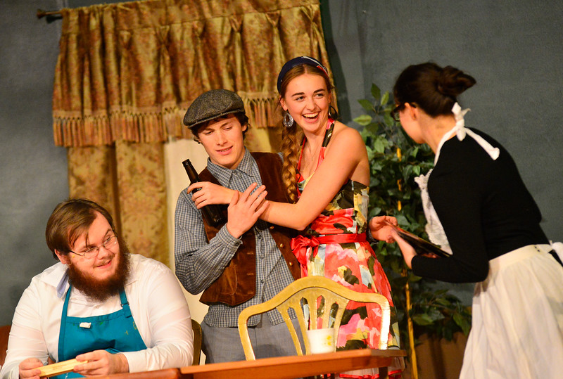 "KRISTOPHER RADDER — BRATTLEBORO REFORMER<br /> Bellows Falls Union High School Drama Club rehearses Kaufman and Hart's classic comedy, ""You Can't Take It With You,"" on Monday, Oct. 29, 2018."