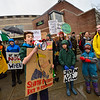 KRISTOPHER RADDER — BRATTLEBORO REFORMER<br /> Django Grace, 13, a seventh-grader at Brattleboro Area Middle School, stands in front of the entrance of Brattleboro Union High School, in Brattleboro, Vt., to protest climate change as part of a global effort on Friday, March 15, 2019.