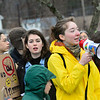 KRISTOPHER RADDER — BRATTLEBORO REFORMER<br /> Maya C King, 17, a junior at Brattleboro Union High School, leads the group in chants as part of a global climate strike before the start of classes on Friday, March 15, 2019.