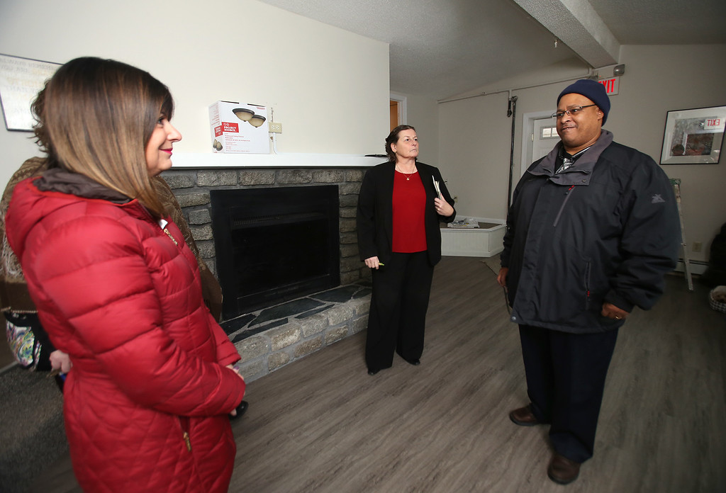 . Zack\'s House at 221 Pawtucket Blvd, a partnership between Zack\'s Team Foundation and Lowell House, will open this week as a \'sober house\' for 18-26-year-old men recovering from addiction. From left, Louise Griffin, mother of Zack Gys, who died from opiate addiction, Diana Newell of Townsend, senior director of residential services at Lowell House, and Frank Campos of Lawrence, who will be the transitional case manager at Zack\'s House. (SUN/Julia Malakie)