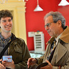 KRISTOPHER RADDER — BRATTLEBORO REFORMER<br /> Republican U.S. Senator candidate Lawrence Zupan visits local businesses in downtown Brattleboro on Thursday, Nov. 1, 2018. Zupan said that Brattleboro is a pro-Bernie town and he didn't come here for a hero's welcome but wanted to share his ideas.