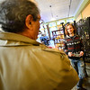 KRISTOPHER RADDER — BRATTLEBORO REFORMER<br /> Alexander Bobella, a server at Tulip Cafe, talks with Republican U.S. Senator candidate Lawrence Zupan as he visits local stores in downtown Brattleboro on Thursday, Nov. 1, 2018.