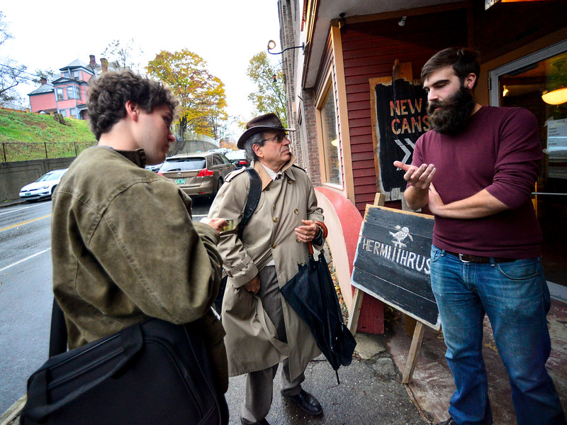 RISTOPHER RADDER — BRATTLEBORO REFORMER<br /> Christophe Gagne asks Republican U.S. Senator candidate Lawrence Zupan about his stance on gun control as Zupan walks around downtown Brattleboro to talk to local voters on Thursday, Nov. 1, 2018.