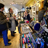 KRISTOPHER RADDER — BRATTLEBORO REFORMER<br /> Penelope Wilner, the owner of Penelope Wurr, talks about the environment with Republican U.S. Senator candidate Lawrence Zupan as he visits local stores in downtown Brattleboro on Thursday, Nov. 1, 2018.