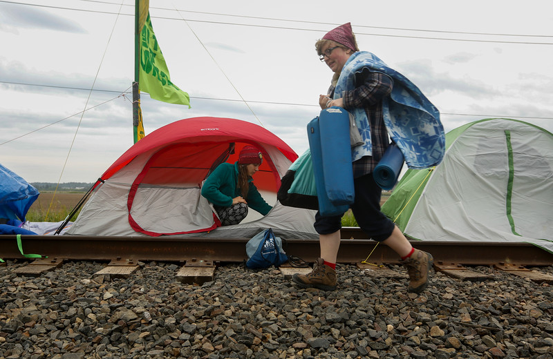 Protesters camp on the Burlington Northern Railroad train tracks leading into two oil refineries near Anacortes, WA on May 14, 2016. The protest is meant to call for action on the issue of climate change and prevent oil from Mountain West states from having access to Asian markets.