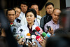 Former Prime Minister Yingluck Shinawatra holding a Press Conference in Chiang Rai, Thailand