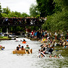 Cambridge Students participate in Suicide Sunday by sailing cardboard boats down the river, Cambridge, June 14 2014