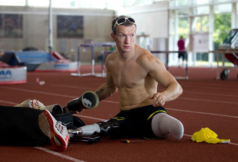 THE SUN EXCLUSIVE<br /> <br /> Paralympian Richard Whitehead training at Loughborough University, July 8, 2013<br /> <br /> Paralympic gold medalist Whitehead is running 40 marathons in 40 days this summer from John O'Groats to Land's End