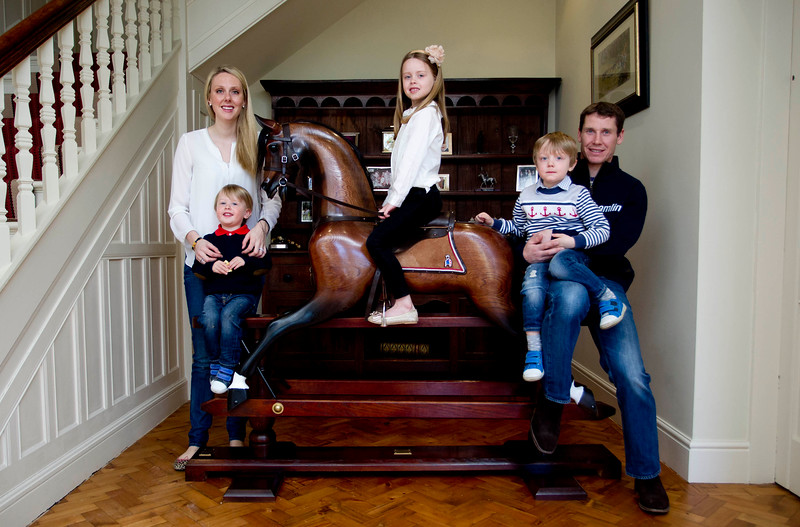THE TIMES<br /> <br /> Jockey Richard Johnson with wife Fiona and children (L-R) Percy (2), Willow (6) and Caspar (3) at their home in Pembridge, Leominster, April 7 2015