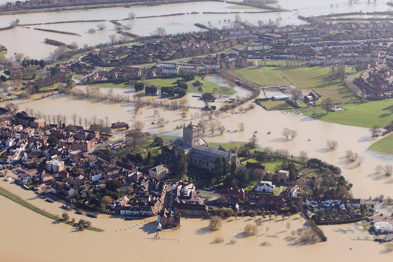 Floods at Tewksbury Abbey, Tewksbury, February 16 2014