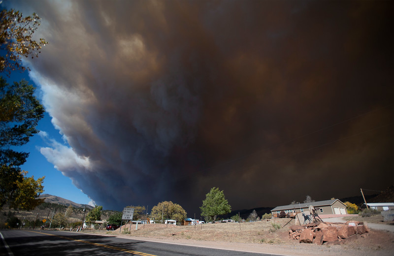 Smoke from the Cameron Peak Fire fills the sky in Masonville, Colo. on Wednesday, Oct. 14, 2020.