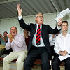 THE INDEPENDENT <br /> <br /> Kettering Town FC director Ken Samuel celebrates Kettering Town FC first goal to make it 1-0 during their match against Aylesbury Town FC at Burton Latimer Football Ground<br /> <br /> Kettering Town's case owe a debt of over a £58,000 to Rushden & Diamonds (2008) Ltd relating to rent owed from the club's time at Nene Park.<br /> <br /> The Kettering Town Supporters Trust have been taking donations .