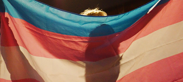 Pride under the shadows of the transgender flag in San Diego, California.