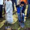 Harith Siddiqui (left), age 13, of Bensalem, and Jasim Amin, 5, of Lower Makefield, help out with Friday's groundbreaking ceremony for the Masjid project at the Zubaida Foundation in Lower Makefield.