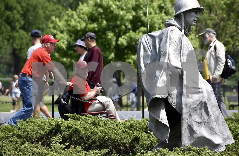 -Messenger photo by Chad Thompson <br> A pair of Brushy Creek Area veterans look over the Korean War Veterans Memorial in Washington, D.C., Saturday.