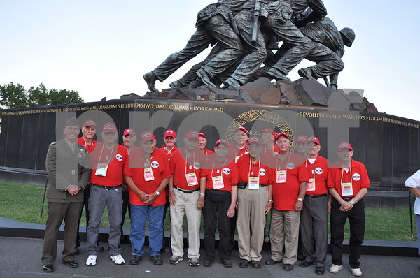 -Messenger photo by Joe Sutter<br /> <br /> Veterans from Osceola County with First Lt. Matt Rojo, public affairs officer for the U.S. Marine Corps Base Quantico.
