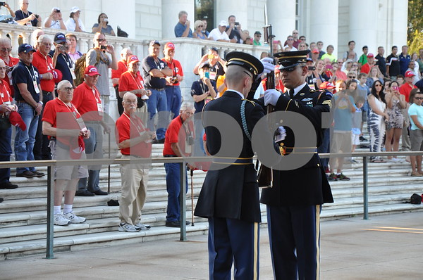 -Messenger photo by Joe Sutter<br /> <br /> Brushy Creek Area Honor Flight Veterans observe the ceremonial changing of the guard at the tomb of the unknown soldier, Arlington National Cemetery.