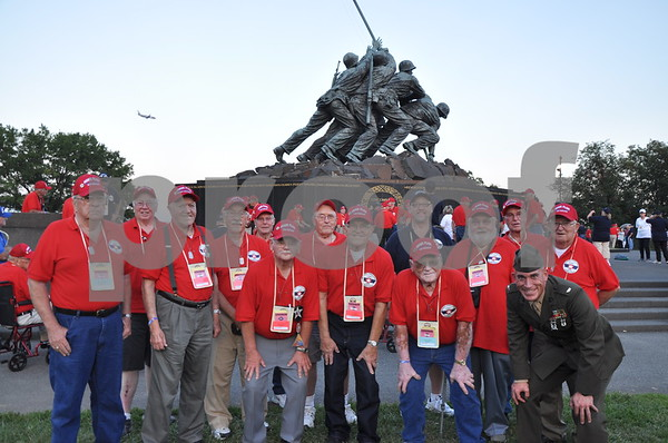-Messenger photo by Joe Sutter<br /> <br /> Veterans from O'Brien County with First Lt. Matt Rojo, public affairs officer for the U.S. Marine Corps Base Quantico.