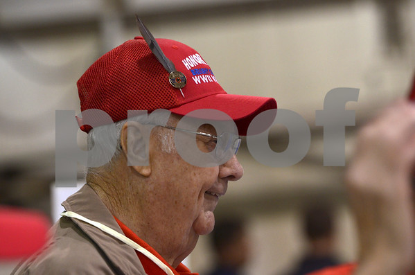 -Messenger photo by Jesse Major<br /> Morrelle Christiansen, an Army veteran who served during World War II, wears a feather from a dream catcher on his hat. He said it would make him easy to spot while he was in Washington, D.C., on Saturday for the Brushy Creek Area Honor Flight.