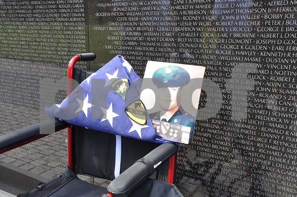 -Messenger photo by Joe Sutter<br /> <br /> The burial flag of Vietnam Veteran Steven Dorsey, of Callender, was carried to the Vietnam War Memorial by staff from the Brushy Creek Area Honor Flight. Dorsey passed away in spring of 2015. A flag for Vietnam Veteran Robert Skelton, of Onawa, was also taken.