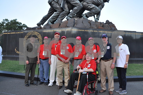 -Messenger photo by Joe Sutter<br /> <br /> Veterans from Sac County with First Lt. Matt Rojo, public affairs officer for the U.S. Marine Corps Base Quantico.
