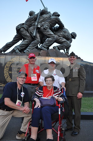 -Messenger photo by Joe Sutter<br /> <br /> Veterans from Calhoun County with First Lt. Matt Rojo, public affairs officer for the U.S. Marine Corps Base Quantico.