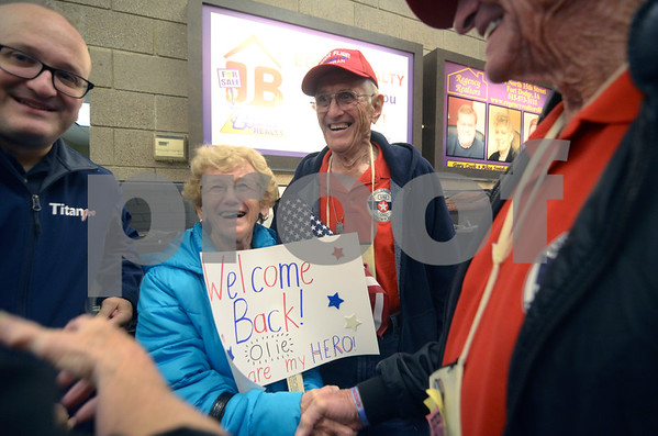 -Messenger photo by Jesse Major<br /> Lois Leimer and her husband Orlando Leimer, are all smiles after he returned from the Brushy Creek Area Honor Flight on Saturday.