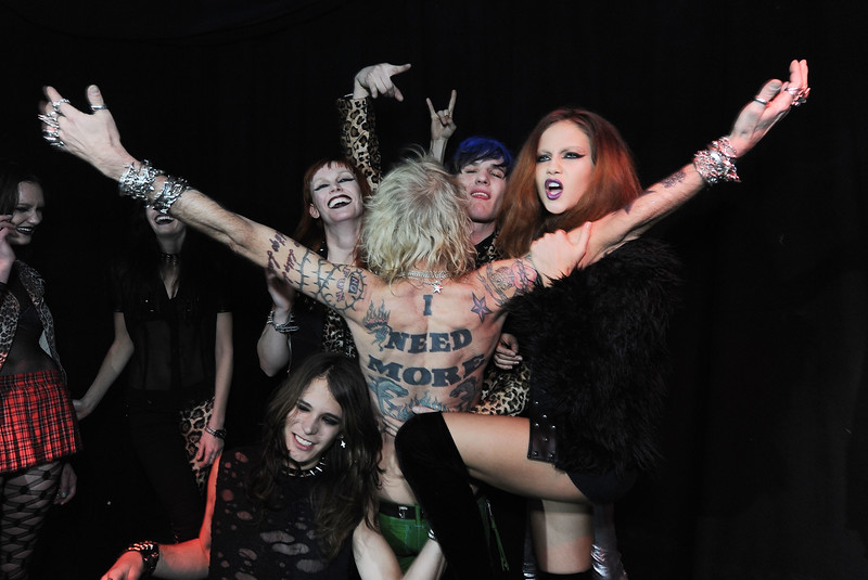 Models pose at the Trash and Vaudeville Website Launch Party  at Don Hill's on Monday, Feb. 21, 2011 in New York City.  (AP Photo/Katy Winn)