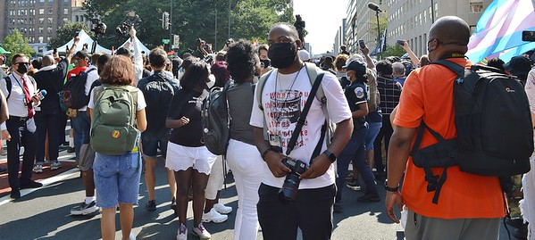 """This photographer was among the large throng of media that swarmed around Rev Al Sharpton when he arrived at the """"March On For Washington & Voting Rights"""" on 8/28/21."""