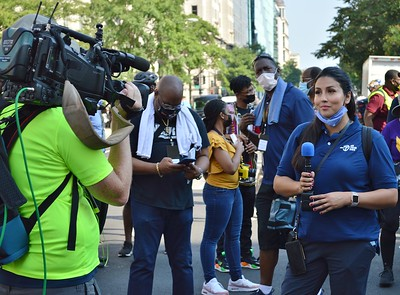 """WJLA-TV (Wash, DC) news reporter Victoria Sanchez at the """"March On For Washington and Voting Rights"""" rally. (8/28/21)"""