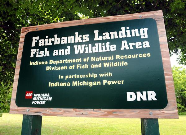 Tribune-Star file Bob Poynter<br /> Sign Detail: Detail photo of Fairbanks Landing Fish and Wildlife area.