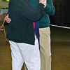 DJ Buddy Patterson dances with fan Nikki Kaufmann at the Rangeline Community Center Saint Patrick's Day dance.
