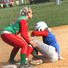 Photo by Chris Martin<br /> Elwoods Meredith Helpling slides under the tag Thursday against Anderson in the County Tourney