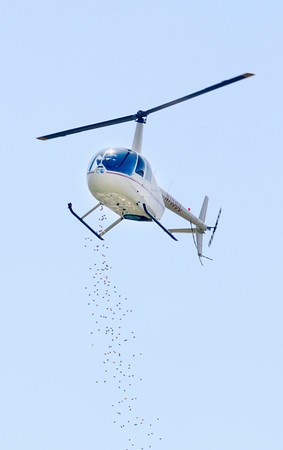 Don Knight | The Herald Bulletin<br /> A helicopter drops Easter Eggs onto the football field at Lapel High School during The River Church's annual Egg Drop on Saturday. Children snatched up 22,000 eggs during the event.