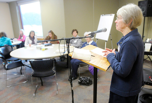 Don Knight | The Herald Bulletin<br /> Barb Collier leads the Women of the Word (WoW) bible study at Madison Park Church of God on Wednesday. Madison Park Church of God has emerged from bankruptcy proceedings.