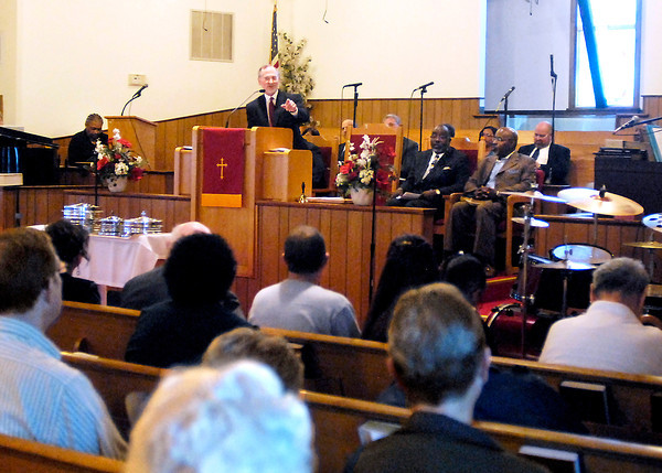 John P. Cleary | The Herald Bulletin<br /> The Community Good Friday Worship Service was held at Friendship Missionary Baptist Church with Rev. John Hackney of Cross Roads United Methodist Church giving the Good Friday message.  The annual service is sponsored jointly by Concerned Ministers of Anderson and Christian Clergy Association of Anderson.  To view or buy this photo and other Herald Bulletin photos, visit<br /> heraldbulletin.smugmug.com.