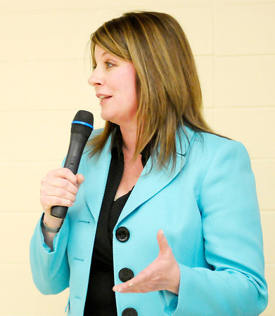 Don Knight | The Herald Bulletin<br /> Melanie Wright speaks during a candidate forum hosted by the Alexandria-Monroe Chamber of Commerce at the Alexandria Junior/Senior High School on Wednesday. Wright hopes to challenge current state representative from district 35 Jack Lutz for his seat in November.